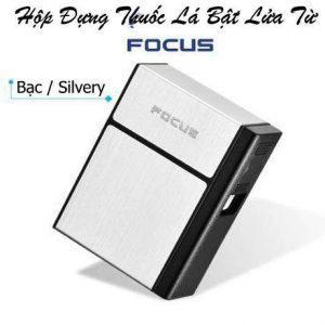Hộp đựng thuốc lá bật lửa từ Focus màu bạc