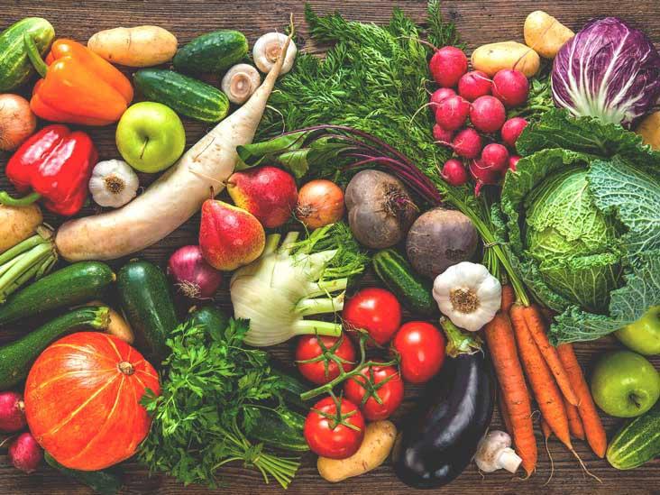 rau củ quả nhiều chất xơ